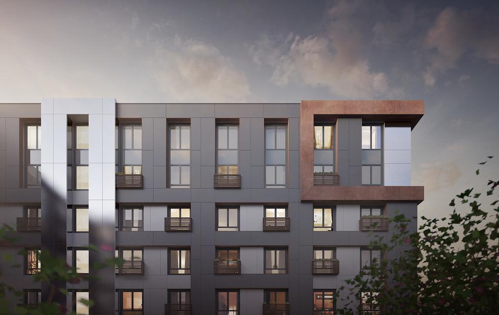 Новый комплекс апартаментов с зеркальными фасадами