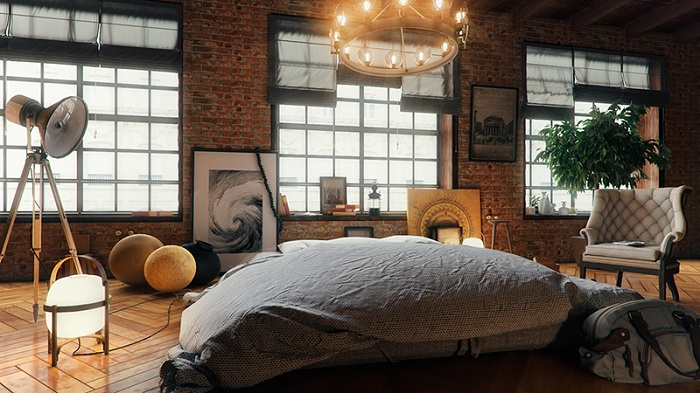 Спальня в лофт-стиле, ещё