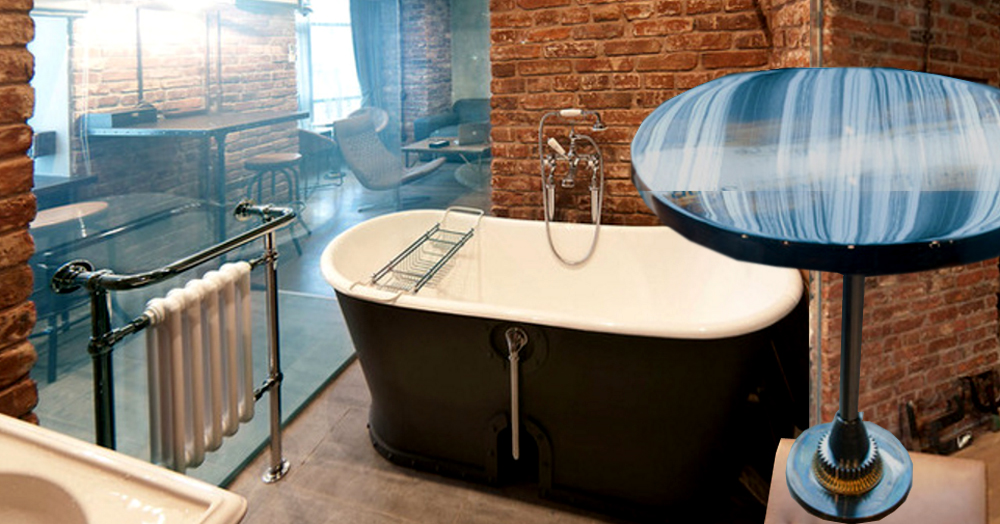 Неожиданный лофт и ванная со стеклянной стеной