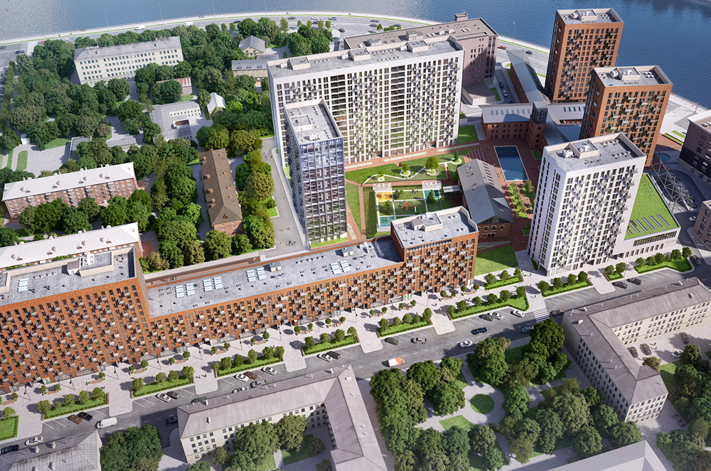 В клубном квартале AFI Residence Paveletskaya начали кирпичную кладку фасадов